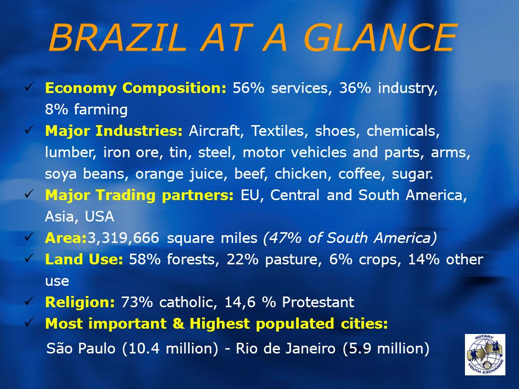 BRAZIL AT A GLANCE Economy Composition: 56% services, 36% industry, 8% farming.