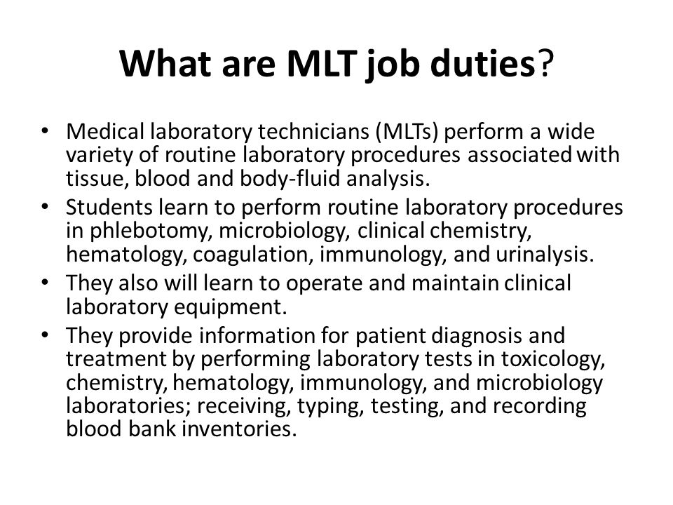 Medical Laboratory Technician Program Information Session Ppt