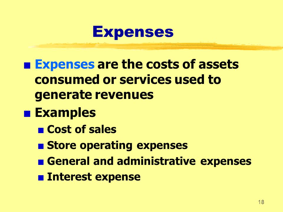 Expenses Expenses are the costs of assets consumed or services used to generate revenues.