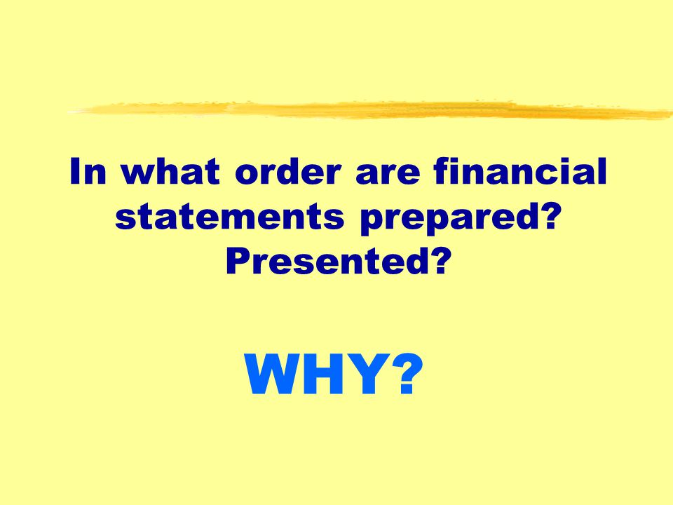 In what order are financial statements prepared Presented
