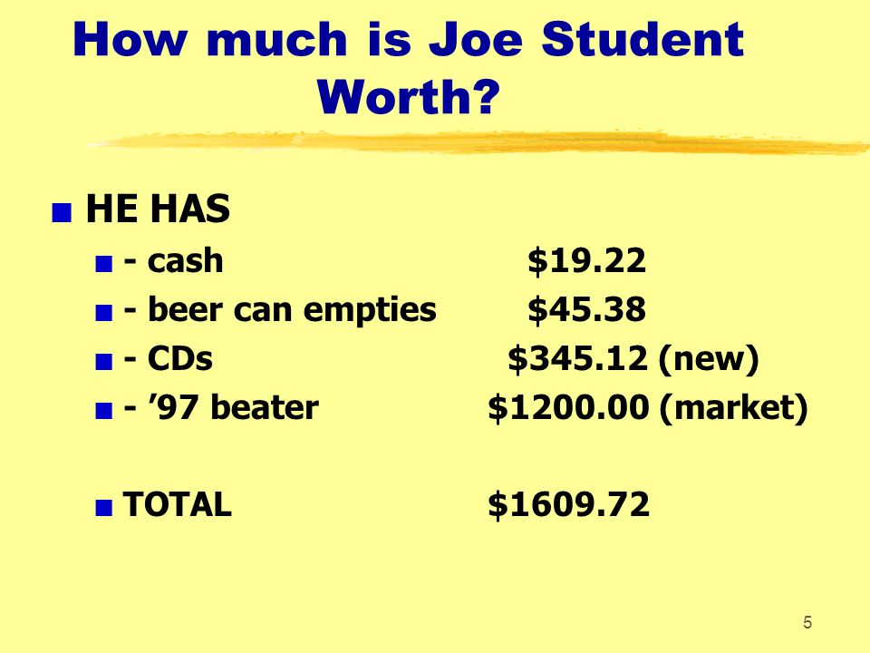 How much is Joe Student Worth