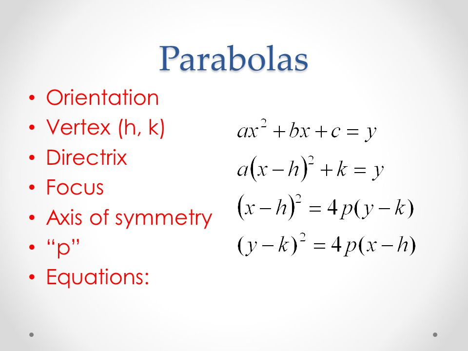 Parabolas Orientation Vertex (h, k) Directrix Focus Axis of symmetry