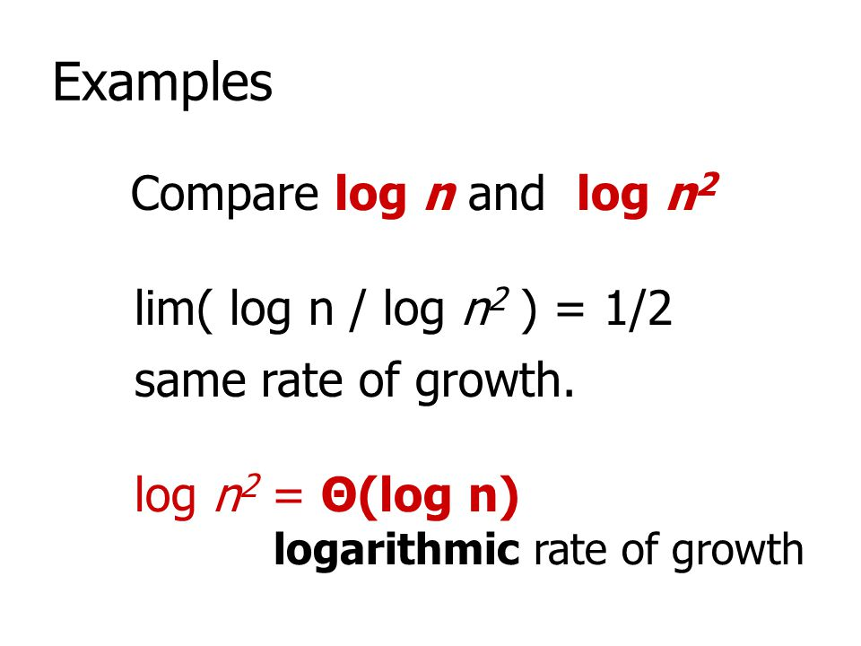 Examples Compare log n and log n2 lim( log n / log n2 ) = 1/2