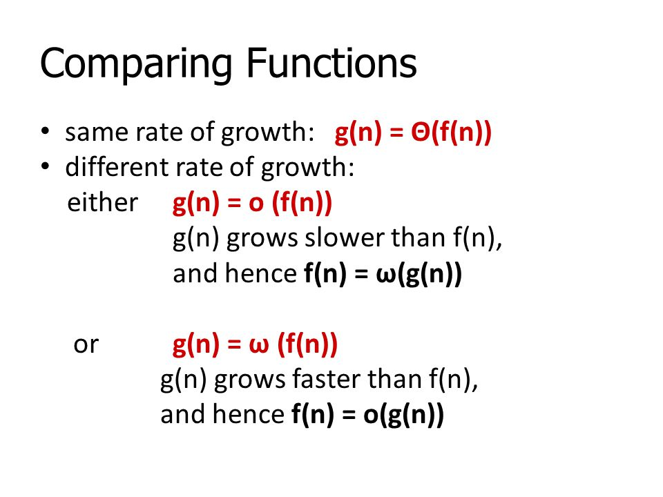 Comparing Functions same rate of growth: g(n) = Θ(f(n))