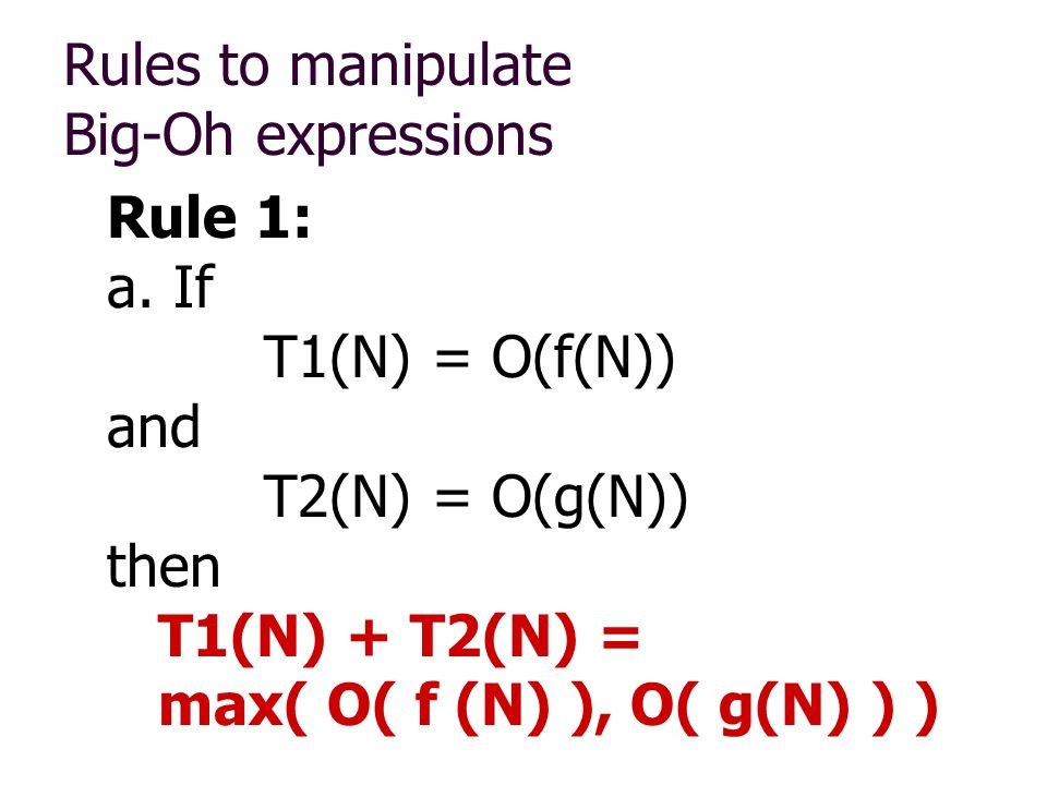 Rules to manipulate Big-Oh expressions