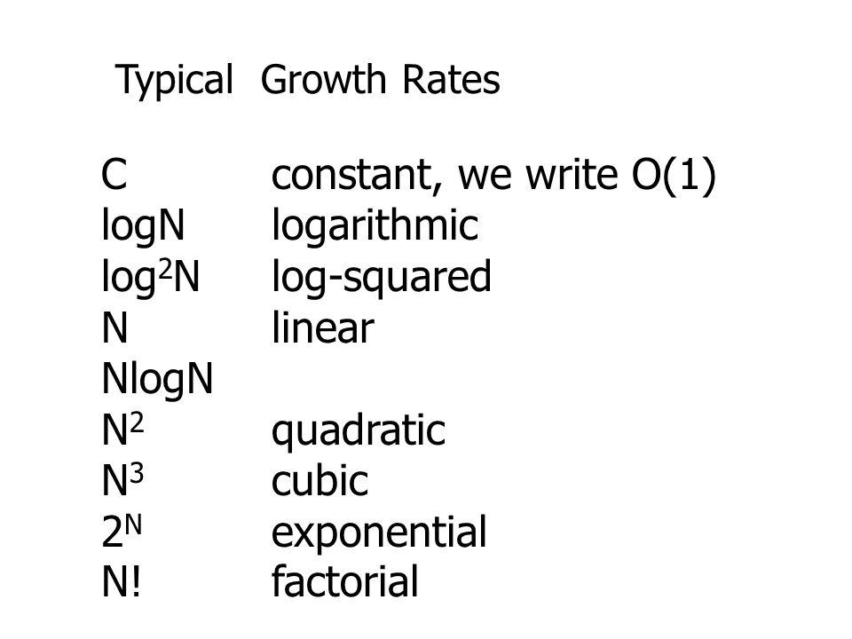 C constant, we write O(1) logN logarithmic log2N log-squared N linear