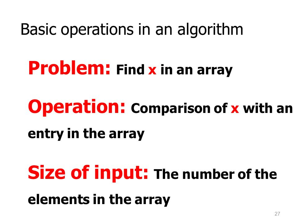 Basic operations in an algorithm