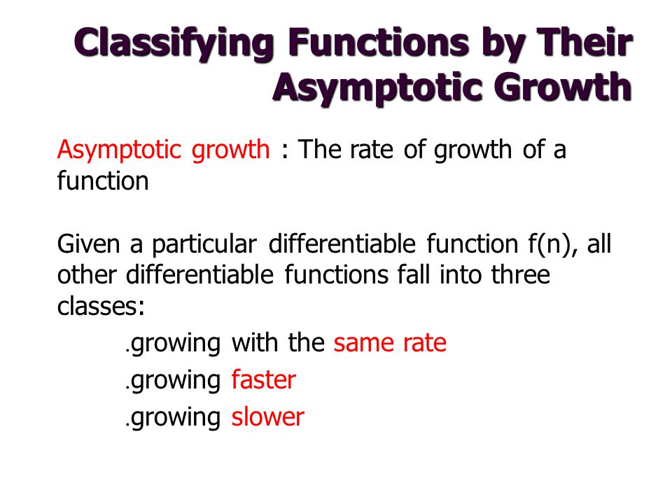 Classifying Functions by Their Asymptotic Growth