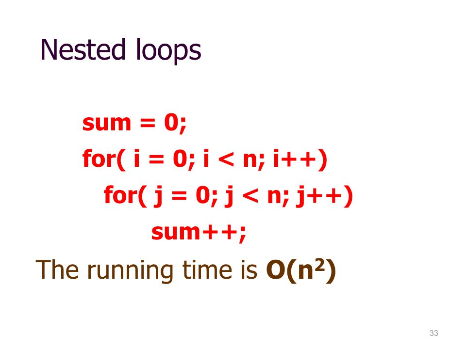 Nested loops The running time is O(n2)