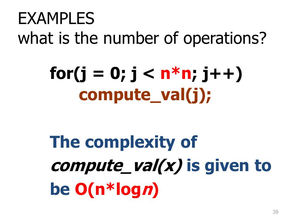 EXAMPLES what is the number of operations