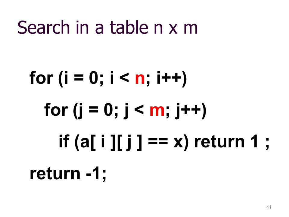 if (a[ i ][ j ] == x) return 1 ; return -1;