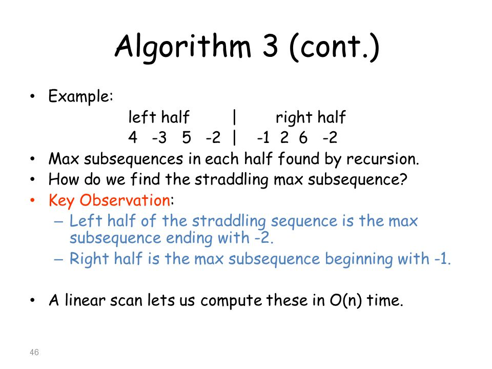 Algorithm 3 (cont.) Example: left half | right half