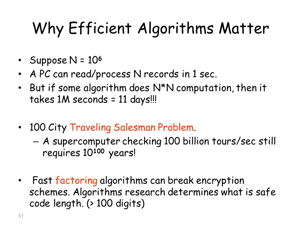 Why Efficient Algorithms Matter