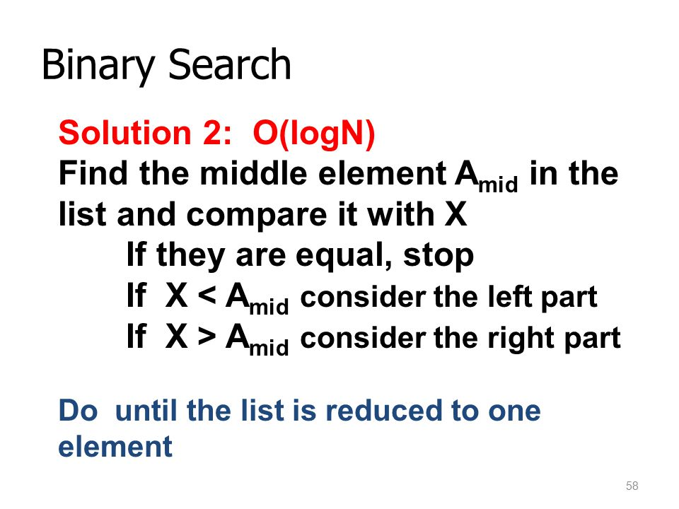 Binary Search Solution 2: O(logN)