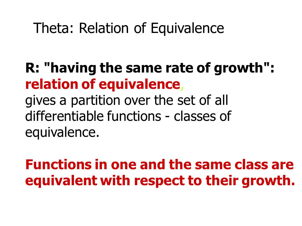 Theta: Relation of Equivalence