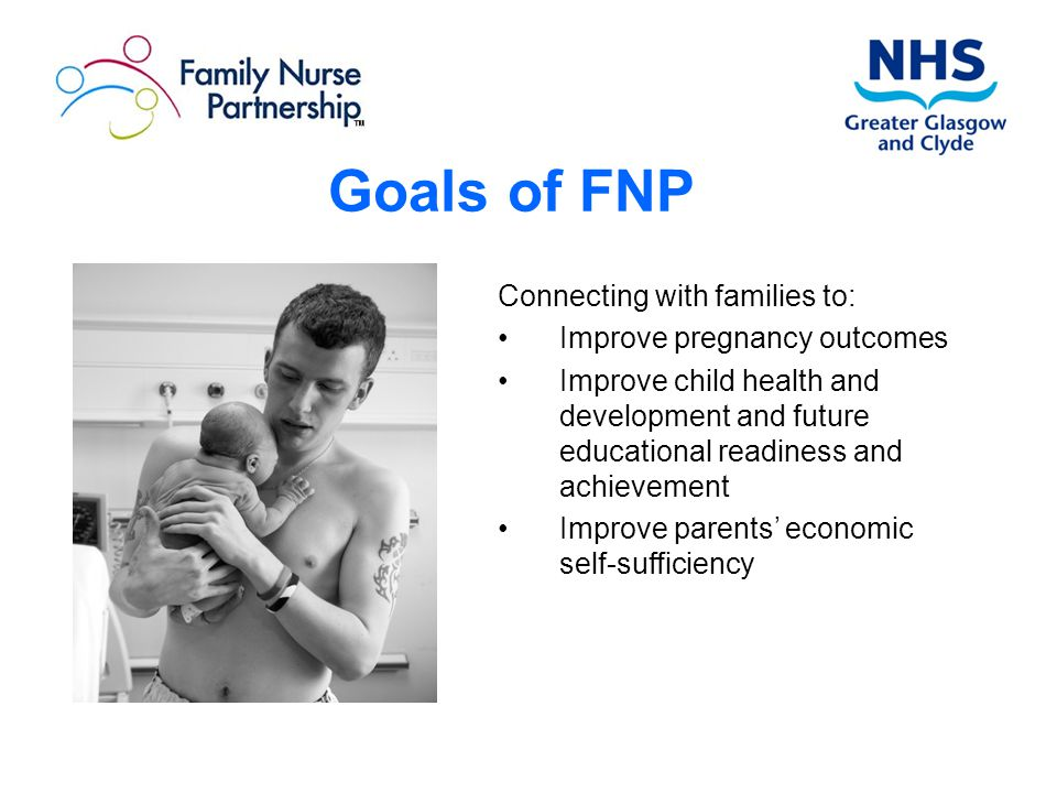 Goals of FNP Connecting with families to: Improve pregnancy outcomes