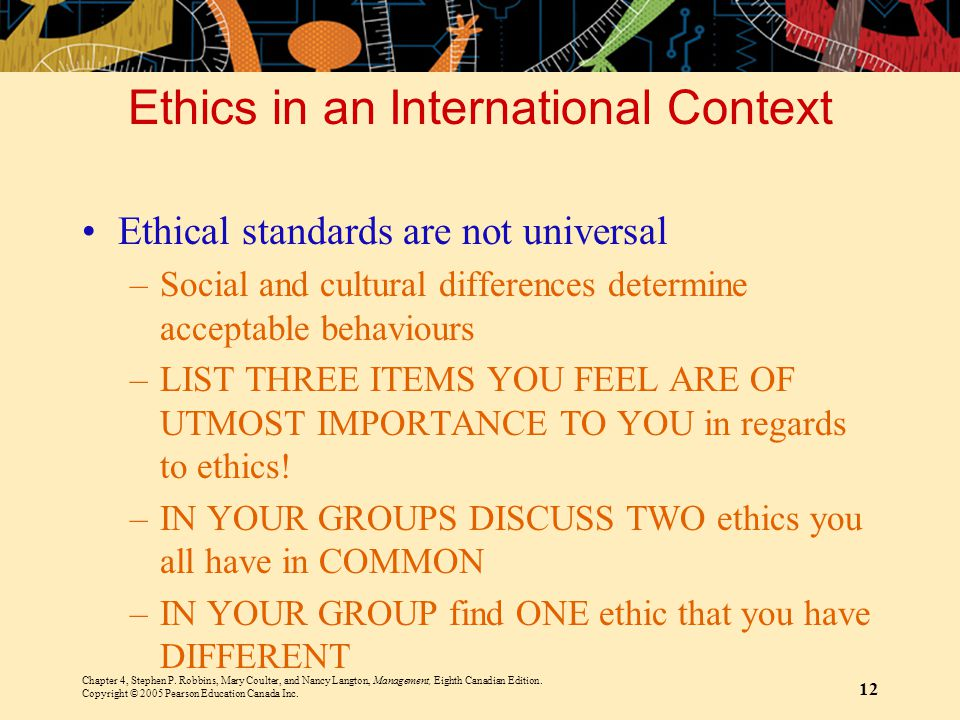 Ethics in an International Context