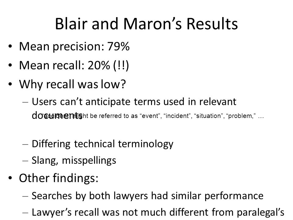 Blair and Maron's Results