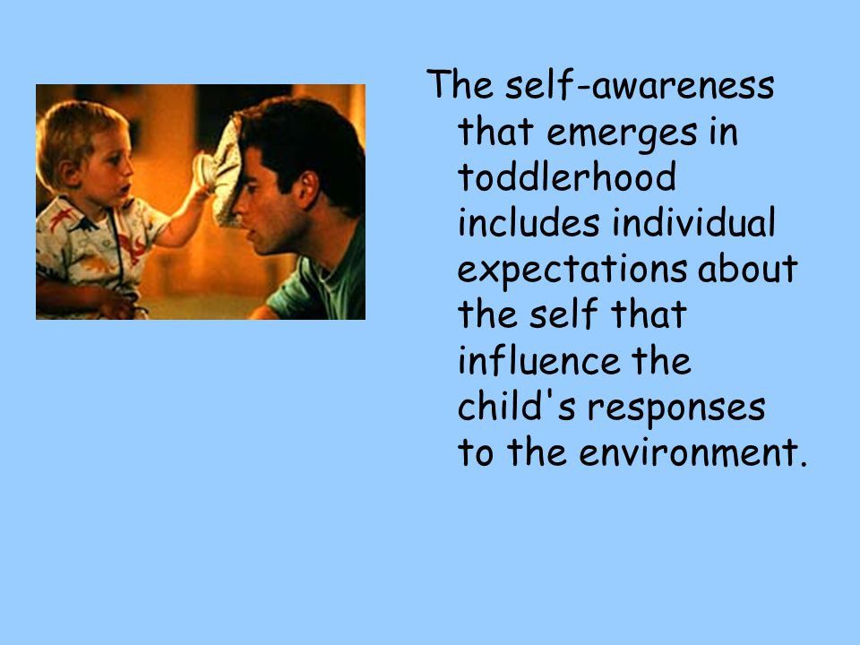 The self-awareness that emerges in toddlerhood includes individual expectations about the self that influence the child s responses to the environment.