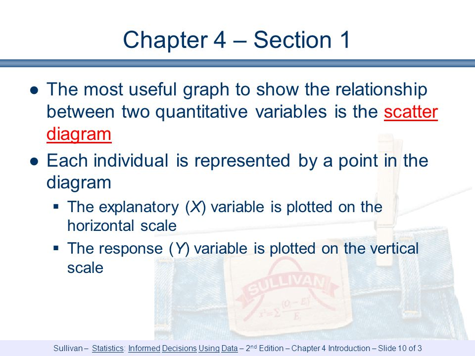 Chapter 4 – Section 1 The most useful graph to show the relationship between two quantitative variables is the scatter diagram.