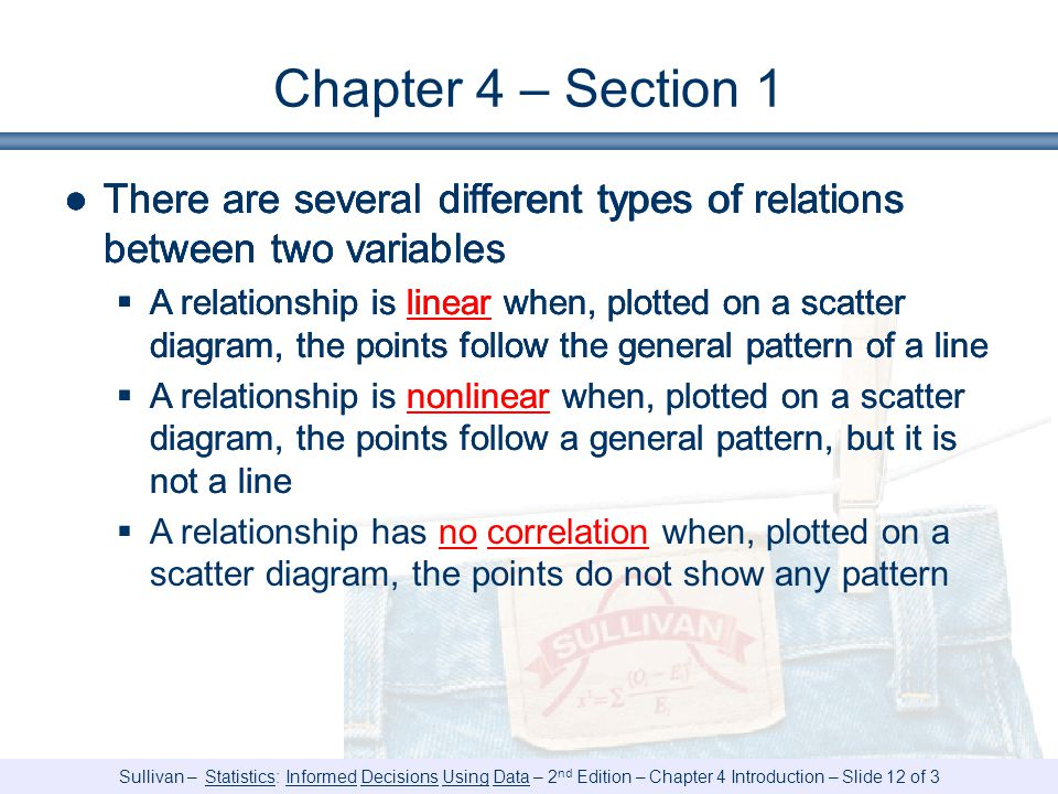 Chapter 4 – Section 1 There are several different types of relations between two variables.