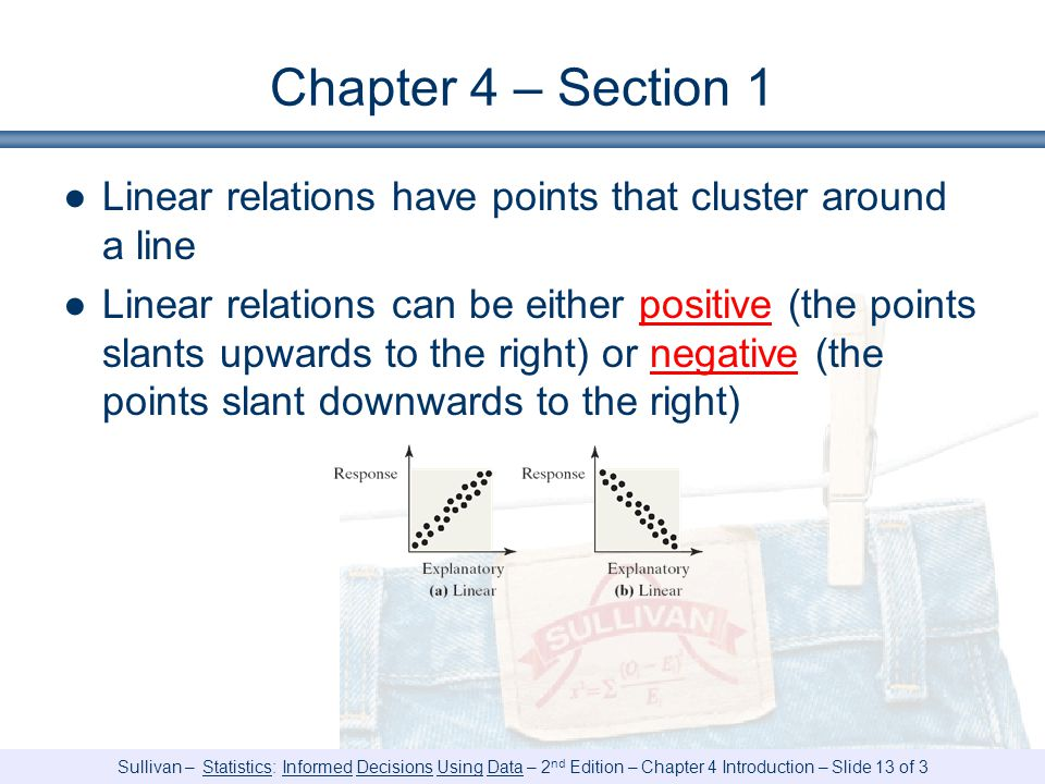 Chapter 4 – Section 1 Linear relations have points that cluster around a line.