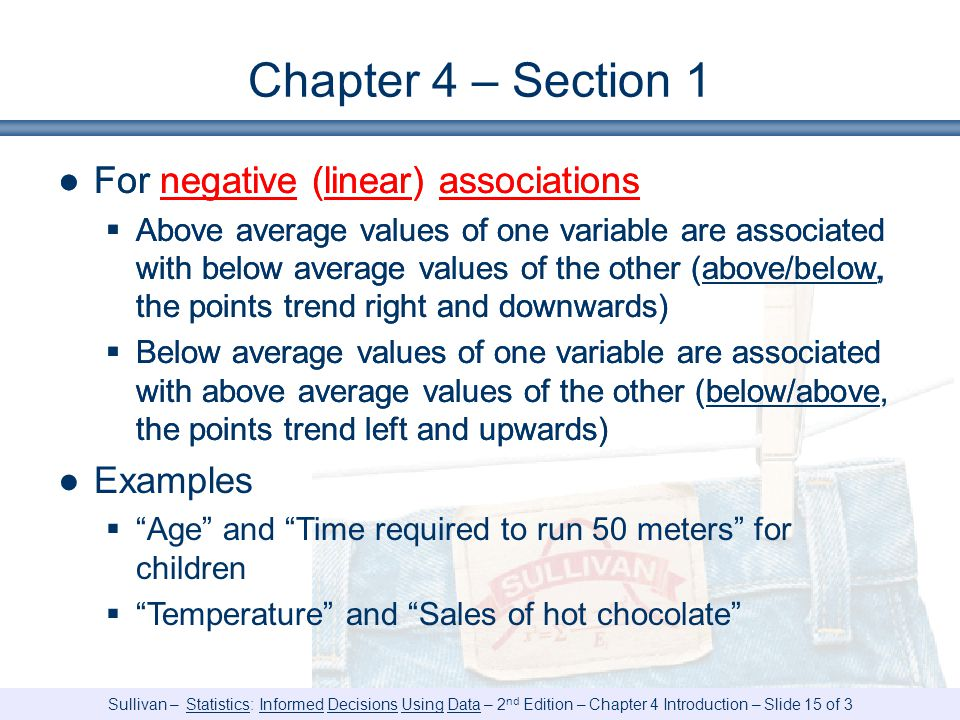 Chapter 4 – Section 1 For negative (linear) associations Examples
