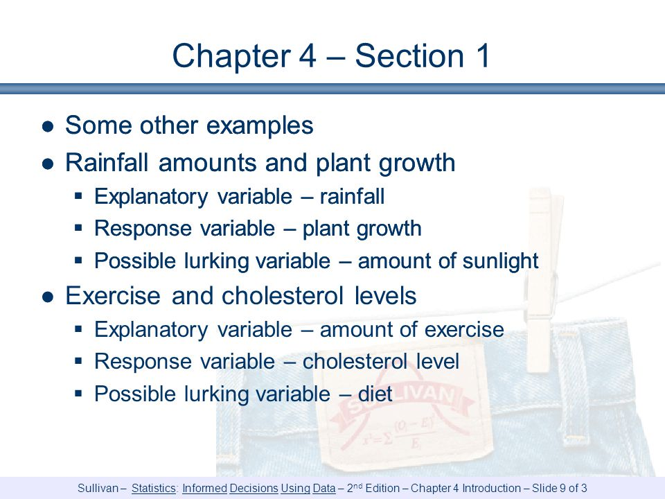 Chapter 4 – Section 1 Some other examples