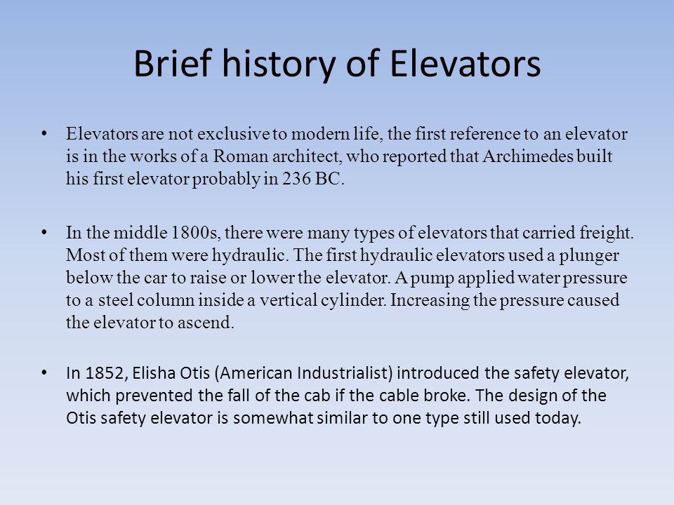 Types of lifts and elevators ppt