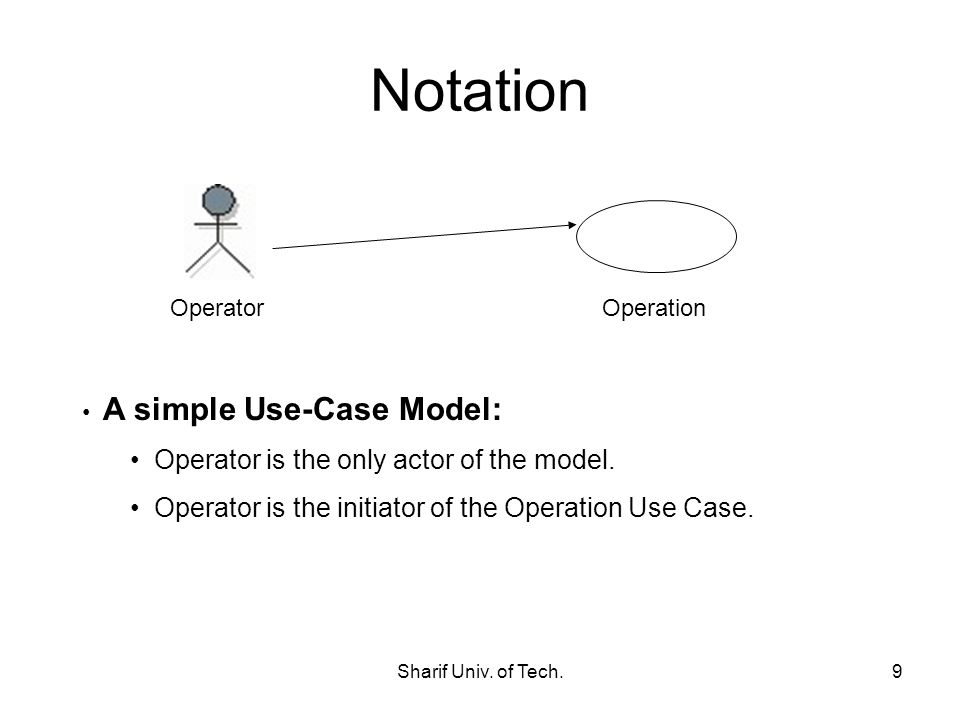 Notation Operator is the only actor of the model.