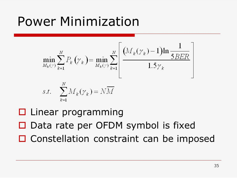 Power Minimization Linear programming