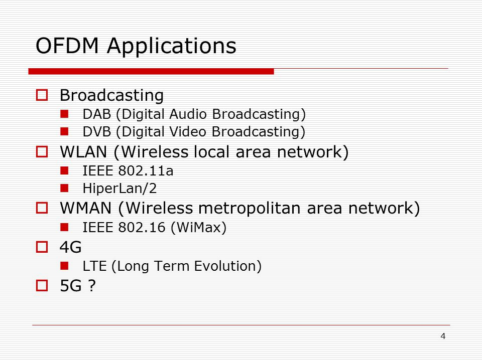OFDM Applications Broadcasting WLAN (Wireless local area network)