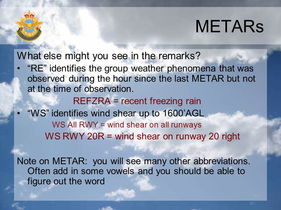 METARs What else might you see in the remarks