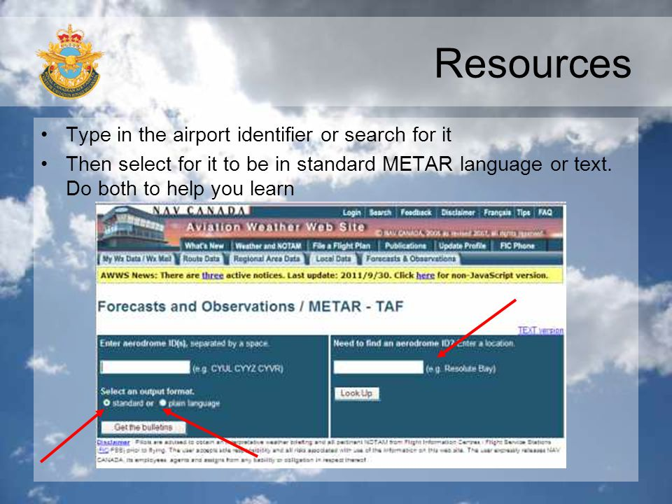 Resources Type in the airport identifier or search for it