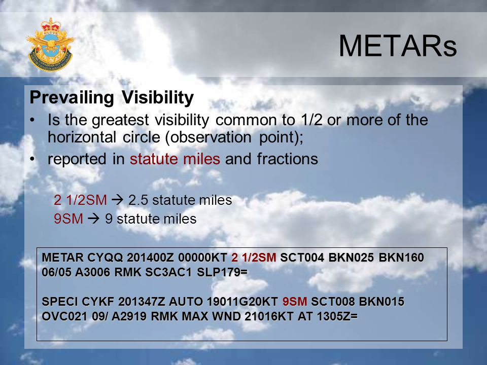 METARs Prevailing Visibility