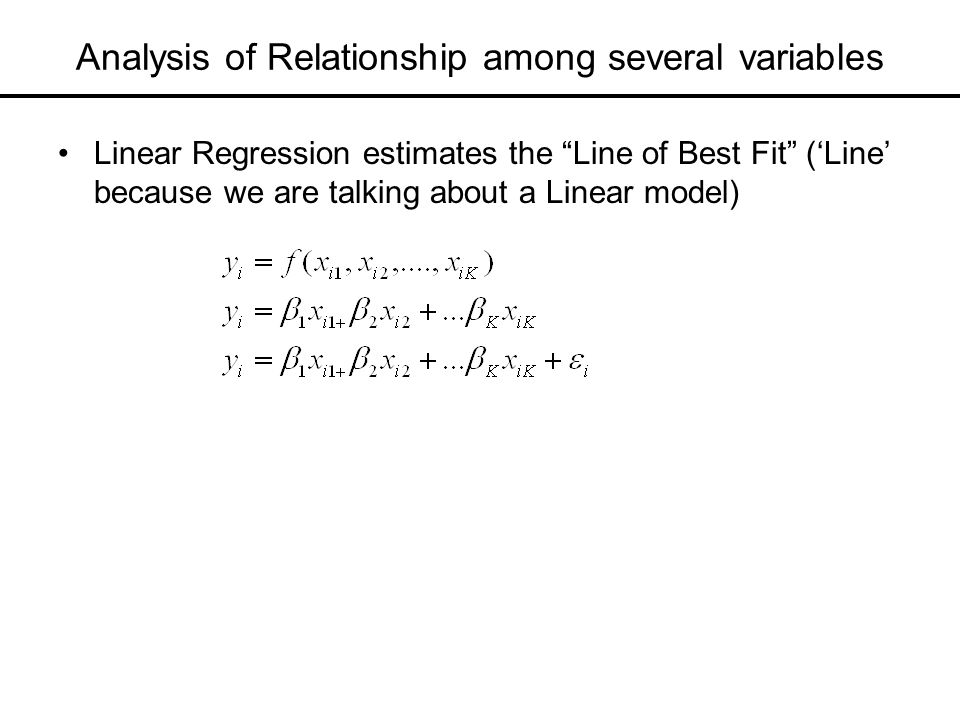 Analysis of Relationship among several variables