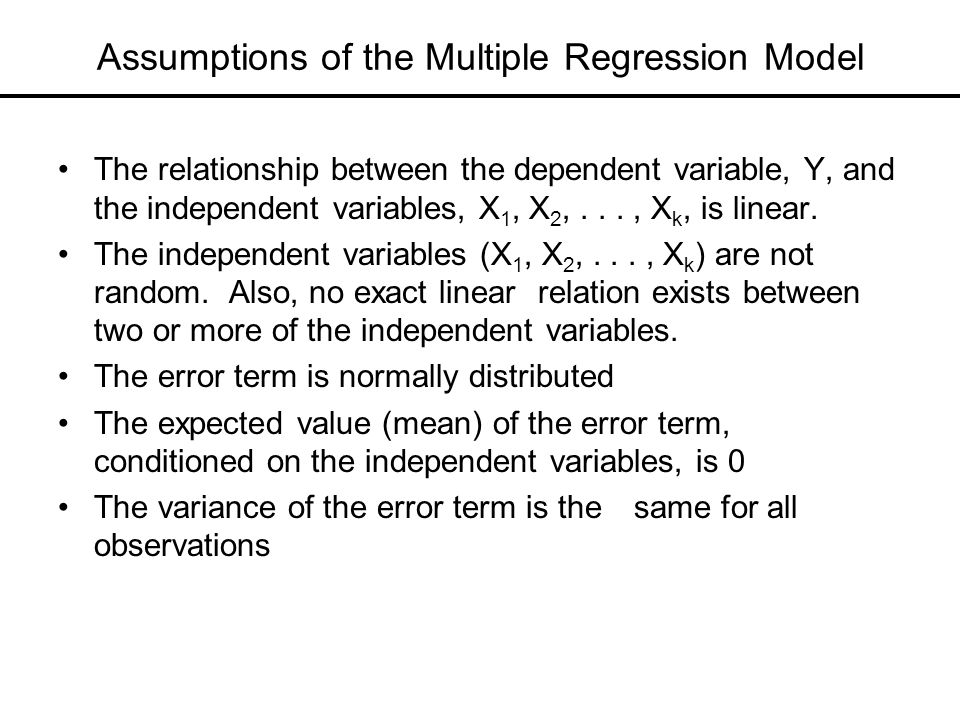 Assumptions of the Multiple Regression Model