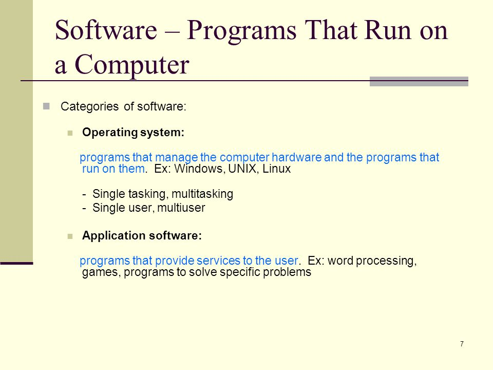 Software – Programs That Run on a Computer
