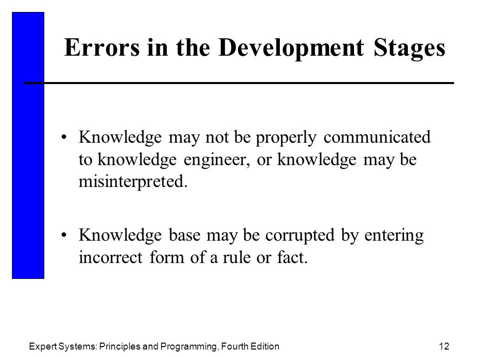 Errors in the Development Stages