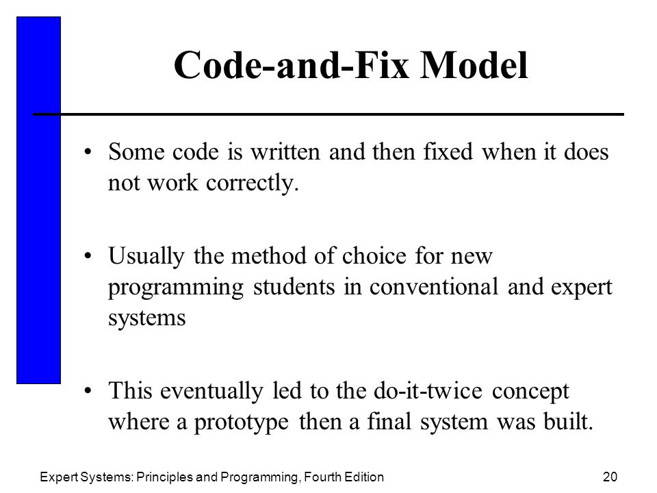 Code-and-Fix Model Some code is written and then fixed when it does not work correctly.