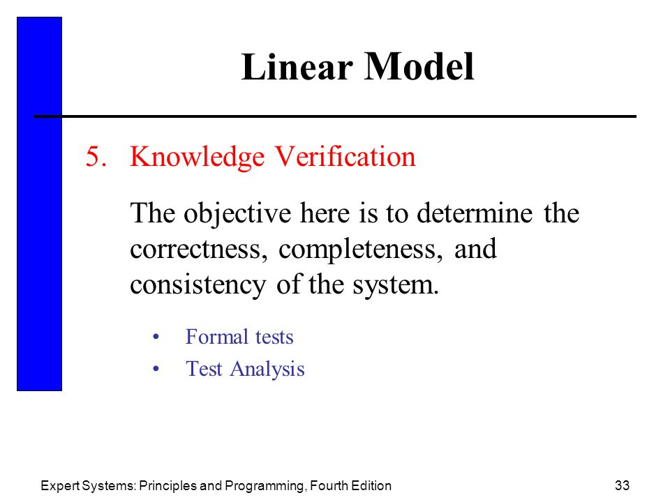 Linear Model Knowledge Verification