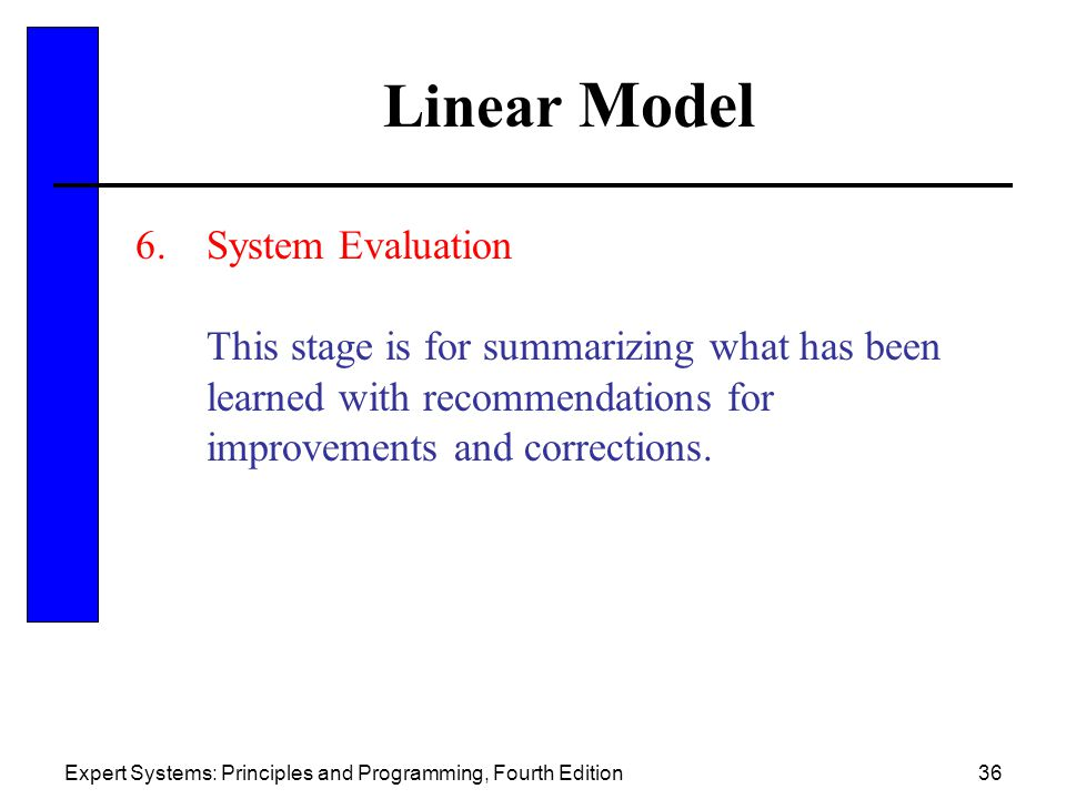 Linear Model System Evaluation. This stage is for summarizing what has been learned with recommendations for improvements and corrections.