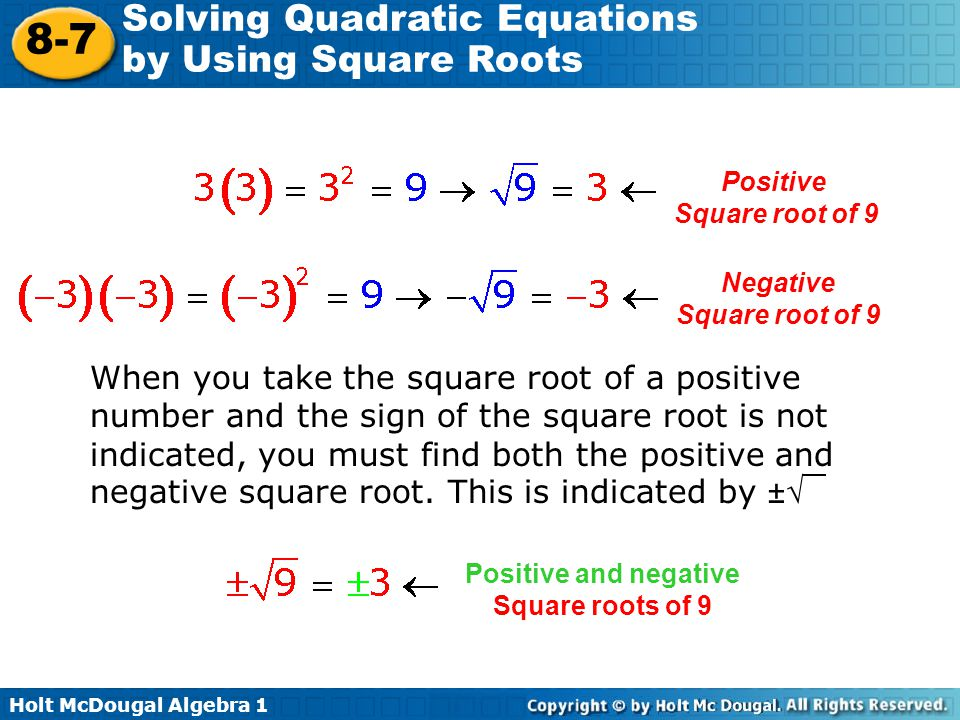 Positive Square root of 9. Negative. Square root of 9.