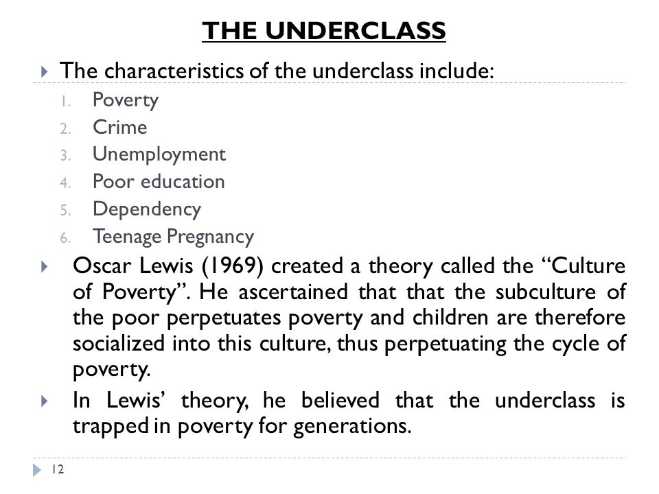 THE UNDERCLASS The characteristics of the underclass include: