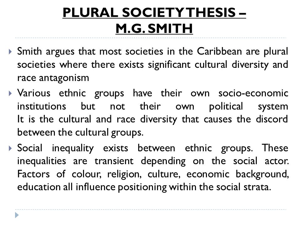 PLURAL SOCIETY THESIS – M.G. SMITH