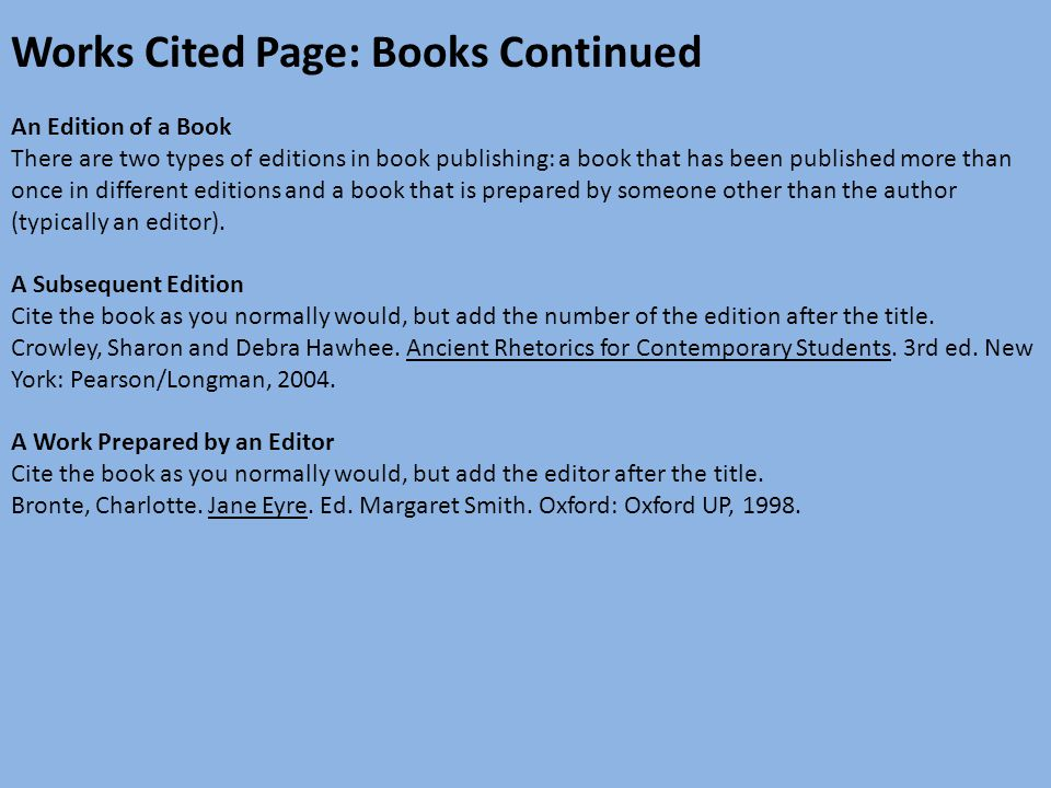 Mla format ppt download works cited page books continued ccuart Images