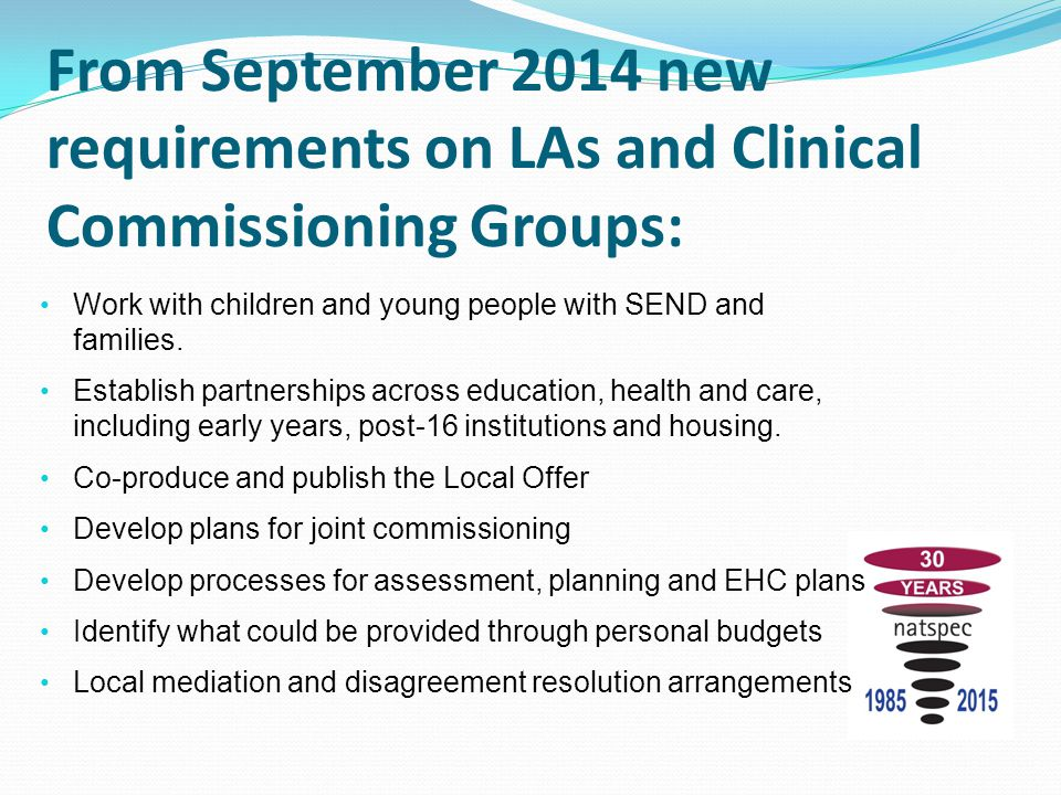 From September 2014 new requirements on LAs and Clinical Commissioning Groups: