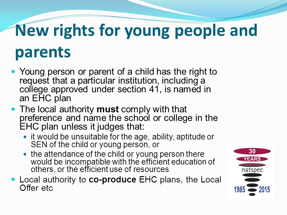 New rights for young people and parents