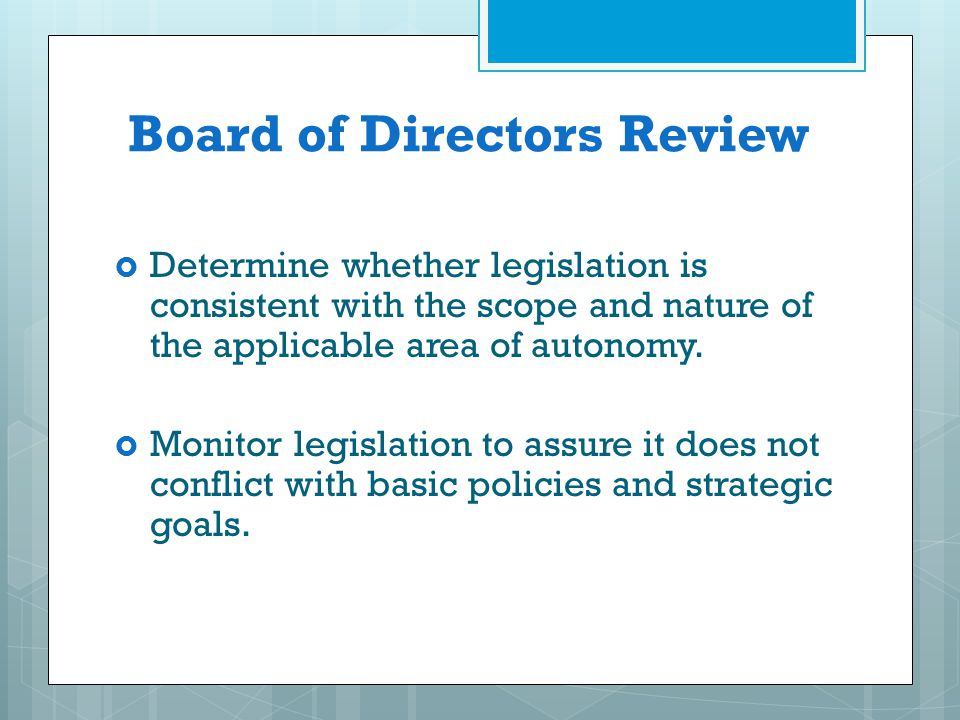 Board of Directors Review