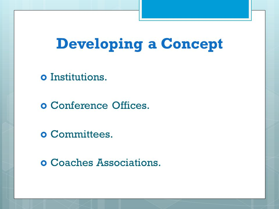 Developing a Concept Institutions. Conference Offices. Committees.